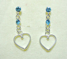 925 Sterling silver studs, hearts + blue crystals