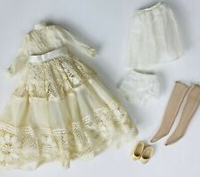"VTG Victorian Doll Dress Ivory Clothes Stockings Slip Bloomers For 13""-14"" Dolls"