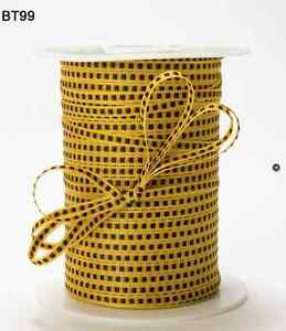"""1/8"""" Inch Solid Stitched Center Ribbon -Yellow/Black - BT99 - 10 Yards"""