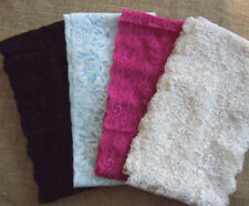 """Lot 10 Yards 5.5"""" Wide Stretch Lace Black, Hot Pink, Cream, Baby Blue h127"""