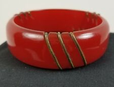 Vintage Cherry Amber Red Carved Wire Inlay Bakelite Chunky Bracelet