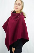 Fashion Womens Ladies 3 Buttons Neck Cardigan Wool Cape Poncho Jumper Top Shawls