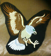 Large Eagle Embroidered Sew or Iron On Patch made in the UK