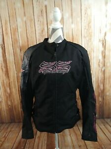 Women's SPEED AND STRENGTH black/pink motorcycling riding jacket w/pads - LARGE