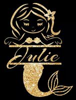 Mermaid personalised with Name of your choice IRON ON TRANSFER A5 size