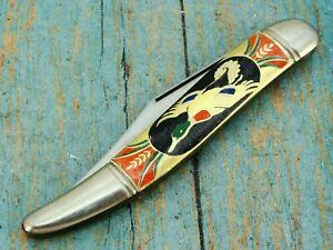 VINTAGE IMPERIAL USA GOLD FOIL DUCK ART PICTURE TICKLER FISH POCKET KNIFE KNIVES