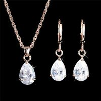 Damen Schmuck Set Gold Halskette Ohrringe Tropfen Kristall Zirkonia Modeschmuck