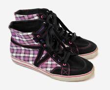 Vans 5.5M Pink/Black Plaid Sk8-Hi Lace Up Sneakers