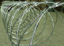 "RAZOR WIRE-450mm x 10m ""Clipped"" Galvanised -Security Fence Concertina (8 ROLLS)"