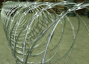 """RAZOR WIRE - 450mm x10m """"Clipped"""" Galvanised -Security Fence Concertina"""