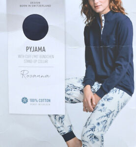 Calida Damen Schlafanzug lang Gr. L Pyjama 43526 blau 488 Knöpfe Baumwolle
