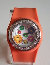 Rhinestone Girl's/Women's Silicone Rubber Slap Wrist Flower Watches For Gift