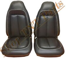 1970 Roadrunner Bucket Seat Covers Plymouth Black & Silver Welt Upholstery Skins