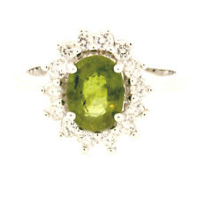 Green Sapphire & White Zircon  Sterling Silver Ring, Size 6