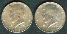 2 Pcs 1964 US Pres. John F. KENNEDY 1/2 Half Dollar 90% Silver Coin  UNC #4