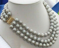 Triple strands AAA 9-10mm south sea gray pearl necklace 18 inch 14K gold Clasp