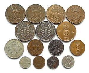 SWEDEN LOT X 15, DATES 1920-1961, 2 SILVER INC 5 ORE 1920 1925 1934, 25 ORE 1946