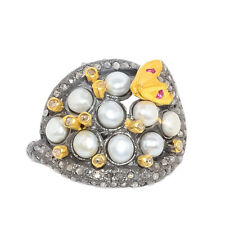 Ring Natural Pave Diamond Pearl Ruby Gemstone 925 Sterling Silver Jewelry RB
