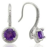 Genuine Amethyst Earrings with Diamonds Sterling Silver 1.4 carats