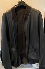 Vintage BALLY Made In Italy Navy Leather Reversible Suede Bomber Jacket Mens 46