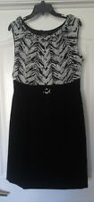 TAHARI ARTHUR S. LEVINE PETITE BLACK WITH WHITE PATTERN COCKTAIL DRESS - 12P
