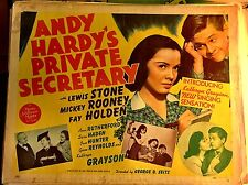 ANDY HARDY'S PRIVATE SECRETARY! '41 M.ROONEY A.RUTHERFORD 1/2-SHEET FILM POSTER!