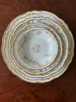 Set Of (2)Theodore Haviland  Limoges Pink Roses Double Gold Rim Dinnerware