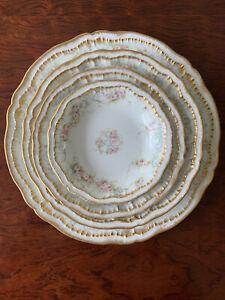 Set Of (2)Theodore Haviland  Limoges Pink Roses Double Gold Rim Dinnerware