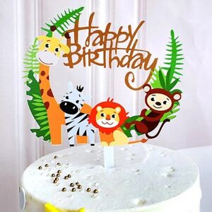 Happy Birthday Animals Cake Toppers Baby Zoo Safari Jungle Party Decoration
