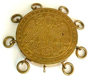 Vintage Lucien Lelong Brass Christmas Presentation Powder Compact with Rings.