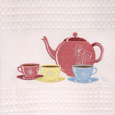 1 x Pretty 100% Cotton Shabby White Waffle Embroidered Afternoon Tea Towel