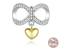 Authentic Sterling Silver Charm Infinite love CZ Charm Bead