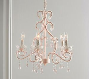 Pottery Barn Kid's Pink Lydia Chandelier Crystals Princess