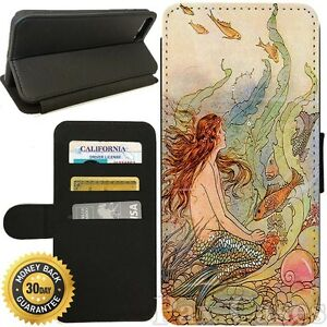 Flip Wallet Case For iPhone 7 / 7 Plus-Card Holder+Stand-Mermaid Vintage Art