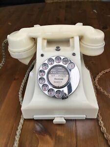 Ivory Bakelite Telephone Rotary Dial Retro GPO 312 1956 Working Perfectly