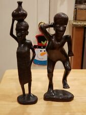 African Style Wood Carved Figures Man and Woman Set Of 2