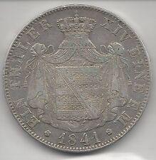 SAXONY, GERMAN STATE, 1841-G,  THALER,  SILVER  KM#19,  VERY FINE-EXTRA FINE+