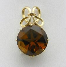 Gorgeous 14k Yellow Gold Smokey Topaz Filigree Pendant Charm