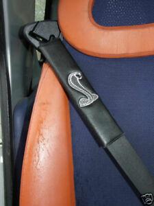 Seat Belt Harness Pads with COBRA - , Black PU Leather , Set of 2
