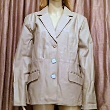 "Tan Leather Women's Jacket Coat Size L by Terry Lewis ""Classic Luxuries"" NWT"