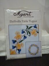 Daffodils Table Topper - hemmed traced linen 80 x 80cm on white 100 cotton