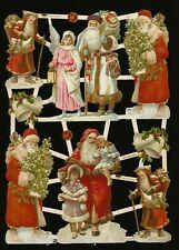 German Embossed Scrap Die Cut - Christmas Santa, Angel & Children EF7417