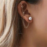 Women Punk Faux Pearl Chain Tassel Dangle Cuff Stud Earrings Ear Clip Jewelry Z