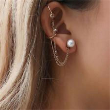 Women Punk Simulated Pearl Chain Tassel Dangle Cuff Stud Earrings Ear Clip BS