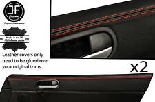 RED STITCH 2X TOP DOOR CARD PAD TRIM LEATHER COVERS FITS MAZDA MX5 MK3 05-14