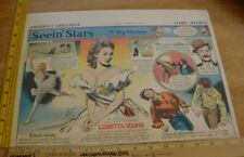 Loretta Young Gloria Swanson Seein' Stars Feg Murray 1930s Sunday color panel 4c