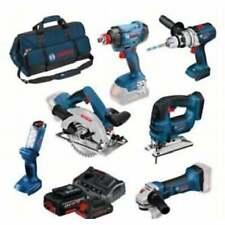 Bosch 0615990L1M 18v Cordless 6 Piece Combi Kit 3 4.0ah Batteries Charger + Bag