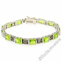 Sterling Silver 13 Channel Set Green Peridot & Marcasite Line Tennis Bracelet