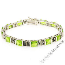 Sterling Silver 13 Channel Set Green Peridot & Marcasite Line Tennis Bracelet