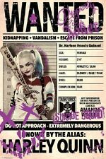 HARLEY QUINN WANTED - SUICIDE SQUAD MOVIE POSTER 24x36 - DC COMICS 160528